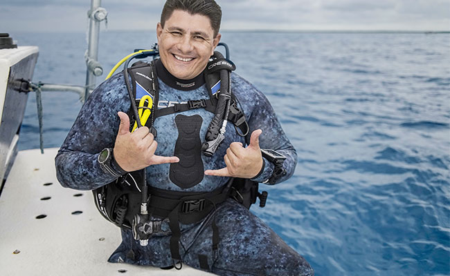 Leo Morales, Dive-Abled PADI Professional Scuba Diver who helps transform and heal people's lives with scuba diving